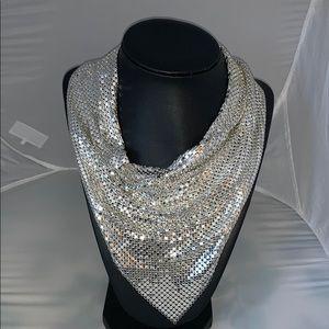 Silver mesh bib necklace NWOT